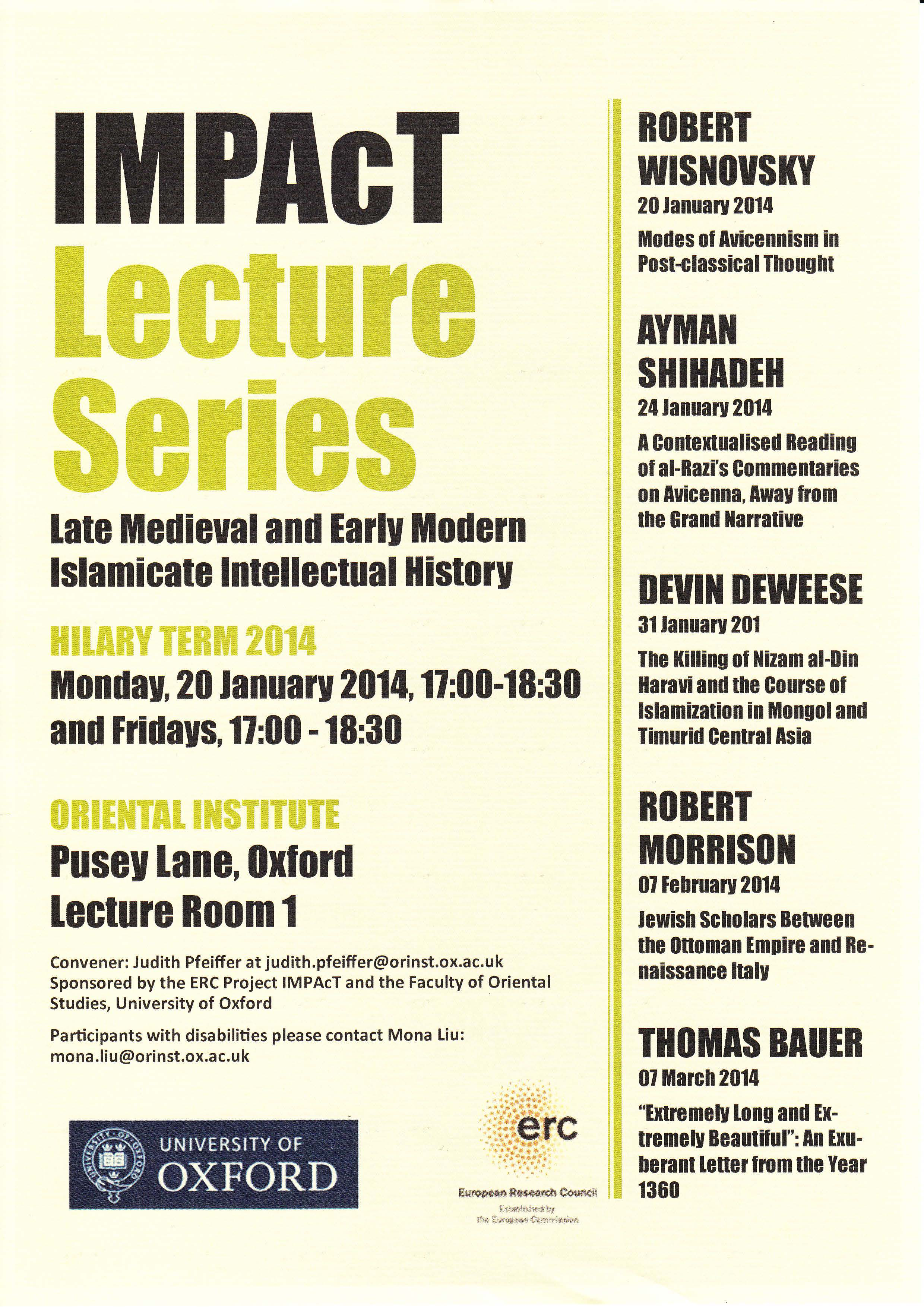 IMPAcT Lecture Series on Late Medieval and Early Modern Islamicate Intellectual History_HT 2014
